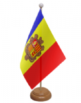 Andorra Desk / Table Flag with wooden stand and base